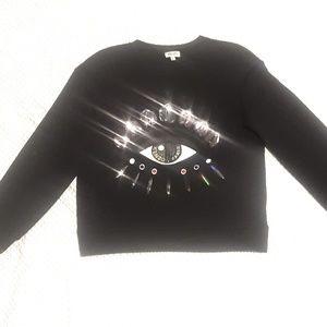 Kenzo Black Lotus Eye Embroidered Sweatshirt